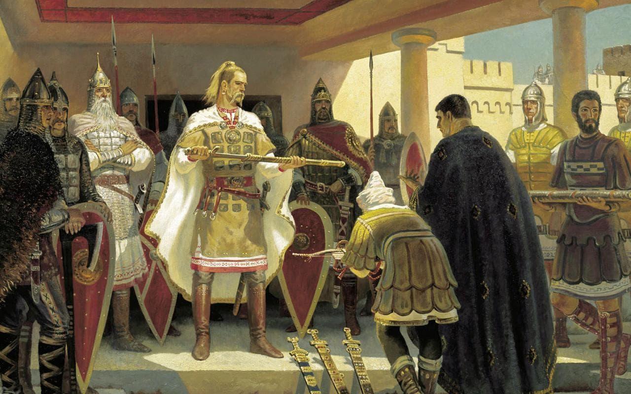 Святослав Хоробрий приймає дари від послів