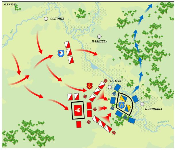 Загальна схема битви під Берестечком